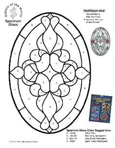 Free Stained Glass Pattern 2268-Traditional Oval