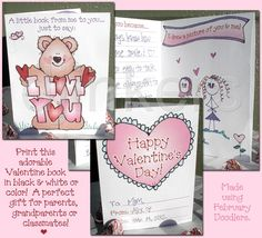 printable Valentine book card