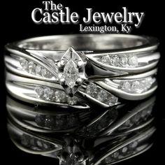 Marquise Cut Diamond Engagement Ring & Wedding Band Bridal Set - 14k WG - .25ctw
