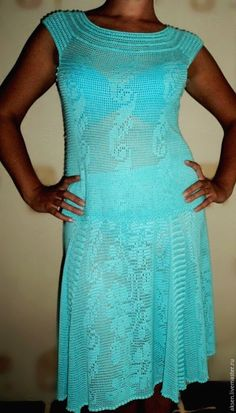 Купить КОСТЮМ ИЗ БАМБУКА - голубой, авторская ручная работа, филейное вязание, Филейное кружево