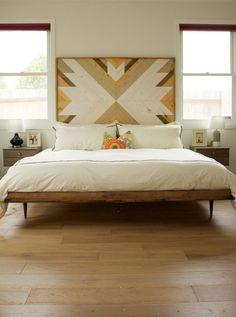 midcentury modern bed // wooden headboard