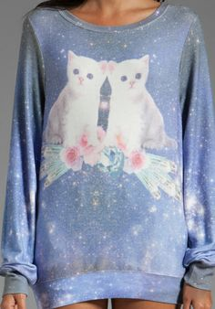 WILDFOX COUTURE Fortunes Fool Space Kitten Baggy Beach Jumper in Multi - Sale
