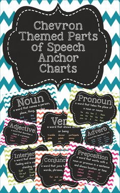 Chevron Themed Parts of Speech Posters. Perfect to decorate your walls and bulletin boards. $