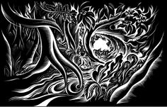 """Solitude by Cathie Bleck. 18"""" x 9"""" : Inks on  scratchboard"""