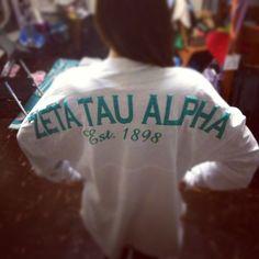 Zeta Tau Alpha spirit jersey in White College Sorority, Sorority Life, Sorority Shirts, Delta Phi Epsilon, Alpha Sigma Alpha, Sorority Sugar, Custom Greek Apparel, Spirit Jersey