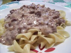 Easy, Creamy Hamburger Stroganoff from Food.com: This easy version of stroganoff is so delicious. I have people beg me to make it for them when they come over for dinner. Hope you enjoy it!