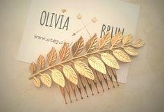 Laurel Leaf Hair Comb Gold Leaf Hair Comb Bridal by OLIVIABRUN