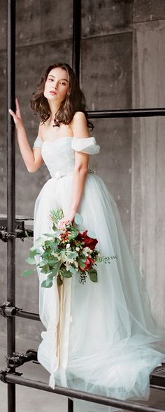 "Tulle wedding dress with off shoulder sleeves ""Arsenia"", classic bridal gown, blue grey wedding dress, low back wedding dress, Milamira"