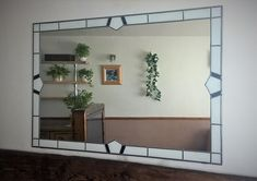 Art Deco Large Mirror Stained Glass style Leaded White Frame black inserts by Catfishglass on Etsy Oversized Mirror, Stained Glass, Art Deco, Range, Etsy, Vintage, Black, Home Decor, Style