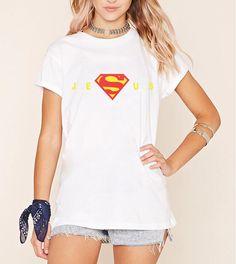 Funny print haut femme women tshirt Super Jesus Christ Homeboy Superstar 2017 summer T Shirt brand harajuku streetwear kawaii #Affiliate