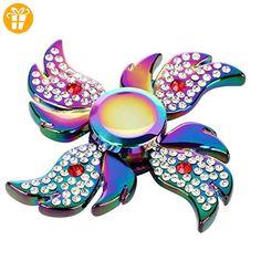 Ayanfo Diamond Decor Rainbow Color Fidget Spinner Single Finger Decompression Luminescence Gyro For Kids Adults - Fidget spinner (*Partner-Link)