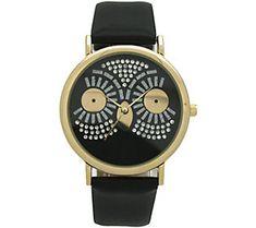Oliva Pratt Women's Sparkly Owl Black Leather Watch