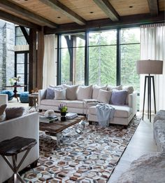 This rustic contemporary mountain chalet in Breckenridge, Colorado showcases a sophisticated styling, the work of Andrea Schumacher Interiors. Formal Living Rooms, Small Living Rooms, Living Room Decor, Contemporary Interior Design, Contemporary Furniture, Family Room Furniture, Family Rooms, Living Room Arrangements, Home Decor Styles