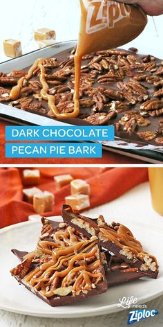 This dark chocolate pecan pie bark recipe makes for a delicious holiday treat and dessert. Carefully use a Ziploc® bag to pipe on softened caramel then sprinkle with pecans. This bark idea is easy to make before your Christmas party, or to give as a gift to coworkers, neighbors, or for the hostess.