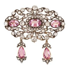 Beautiful Victorian Pink Topaz Diamond Brooch For Sale