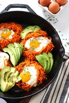 Spiralized Sweet Potato Egg Nests is the easy semi-healthy way to get breakfast to the table in under 30 minutes. Spiralizer Recipes, Zoodle Recipes, Healthy Recipes, Healthy Breakfasts, Healthy Dishes, Healthy Meals, Vegetarian Recipes, Healthy Food, Healthy Eating