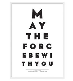 Star Wars. May The Force Be With You. A3 Movie Poster. $21.00, via Etsy.