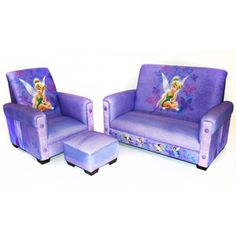 Disney - Tinker Bell Fairies Toddler Sofa, Chair and Ottoman Set... seriously this is too cute