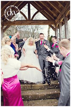 Throwing of the confetti after the wedding ceremony in Lancashire