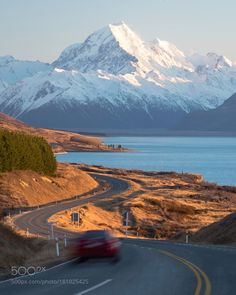 Mount Cook Road by alluphoto with laketravelcarroadnew zealandmountaindaylightscenicmount cookmount cook road