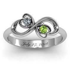 Duo of Hearts and Birth Stones Infinity Ring - anniversary?