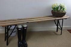 Vintage Wooden Slatted Folding School Bench For Home or Garden £80