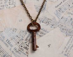 Tiny Vintage KEY Necklace Key to My Heart cute necklace i could make as well!! i have an old key lol