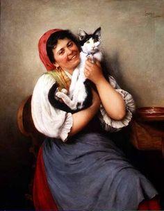 Ludwig Kohrl (Austrian, 1858-1927) - Her Favourite Cat