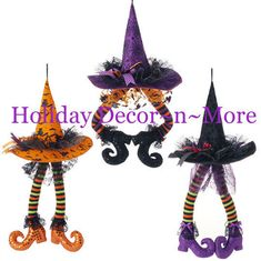 Video and written tutorial for a Halloween Candy Corn Wreath using an Open Tree Form, Orange, Yellow and White Deco Poly Mesh, RAZ Witch Hat and Legs or Fabric Hanging Witch Legs.RAZ Hanging Witch Hat with Legs 3 Assorted styles - priced individually Theme Halloween, Halloween Projects, Holidays Halloween, Vintage Halloween, Halloween Crafts, Holiday Crafts, Halloween Decorations, Halloween Wreaths, Halloween Candy