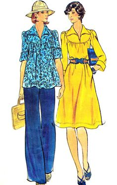 1970s Dress Pattern Butterick 4126 Womens Boho Puff Sleeve Yoked Dress or Swing Top and Pants Vintage Sewing Pattern Bust 36. $9.00, via Etsy.