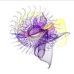 Dibujo creado con string spin 2. Es una herramienta de dibujo online muy divertida por los efectos que se pueden lograr con ella, haciendo de un trazo simple una compleja estructura abstracta. Esta muy limitada y la calidad del resultado es bastante baja, aun asi es muy entretenida.
