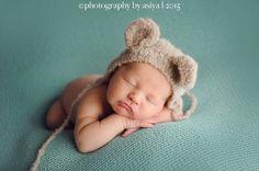 Newborn knitted ear bear bonnet-puppy bonnet in alpaca boucle wool-newborn props-photo prop bonnet
