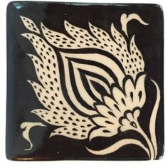 Flower Patterned Nicea Square Porcelain Coaster