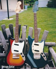 Named after the car that was named after the fighter plane; Fender Mustang guitars from '73 and (in Competition Blue) '69.