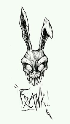 Donnie Darko was one of my favorite movies. Frank the rabbit looks so badass I want that costume. I would get this without frank though. Tattoo Sketches, Tattoo Drawings, Art Sketches, Art Drawings, Gothic Drawings, Creepy Drawings, Creepy Art, Badass Drawings, Arte Horror