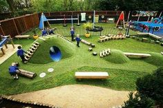 Fun outdoor space with ladders and a tunnel.