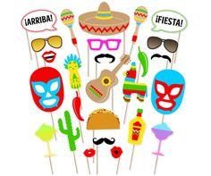 Printable Mexican Fiesta Photo Booth Props Cinco De Mayo