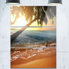 Designart - Beautiful Sunset on Tropical Beach - Seashore Glossy