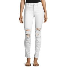 Joe's Icon Distressed Raw-Edge Skinny Jeans ($149) ❤ liked on Polyvore featuring jeans, white skinny leg jeans, joe's jeans, white distressed skinny jeans, destroyed jeans and denim skinny jeans