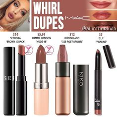 """MAC Whirl Lipstick Dupes - All In The Blush MAC Whirl Lipstick Dupes Rimmel London<br> I have another MAC Cosmetics Lipstick dupe to share with you! The next shade up on the dupe list is """"Whirl"""", a dirty rose hue. Skincare Dupes, Drugstore Makeup Dupes, Beauty Dupes, Makeup Swatches, Beauty Makeup, Hair Beauty, Lipstick Swatches, Mac Whirl, Makeup Tutorials"""