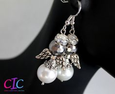 Handmade White and Silver Angel Christmas Earrings by CICinspireme, $14.00 #earrings #angels #Christmas