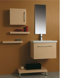Mastro Fiore's stylish bath vanity with wall mount cabinet and shelf / System Collection