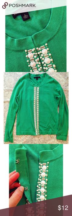 ‼️Final Price‼️Banana Republic cardigan Beautiful emerald green 100% cotton cardigan with white beading. Hook and eye closure. Gently worn, with one small spot on arm (see pic) but overall great condition Banana Republic Sweaters Cardigans