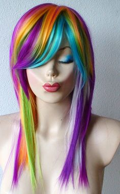 Rainbow Color wig. Long straight  hair pastel color wig. Bold pastel color highlighted wig. Scene color wig.. $97.95, via Etsy.