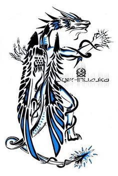 tribal dragon tattoos - I want this tat on my calf.