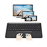 Sharon Multitouch Bluetooth - Tastatur | Multipairing bis zu 5 Geräte | Keyboard für Smart TV, tvOS / iOS / Mac OS X, Windows, Android, Android Tablet und Smartphones wie Galaxy Tab A 2016, Smartphones und alle Samsung Smart TV, wie VG-KBD2000/ZG VG-KBD1000 Kabellose Tastatur auch APPLE TV 4 kompati