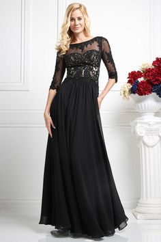 Evening Long Dress CDCR703. Full Length A-Line Mother of Bride Evening Dress with Lace and Beading Applique Sheer Bodice and Half Length Sleeves has Bateau Neckline and Open V Back with Zipper Closure, Solid Color Flowing Chiffon Skirt. https://www.smcfashion.com/wholesale-evening-dresses/evening-dress-cdcr703