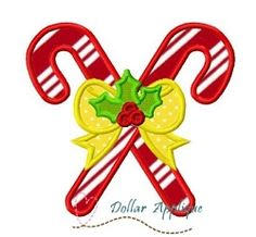 Candy Canes Applique - 3 Sizes! | What's New | Machine Embroidery Designs | SWAKembroidery.com Dollar Applique