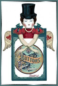 EXAMPLE FROM: Altered Art Frozen Charlotte Vintage Cabinet Card Dolls DIGITAL Printables