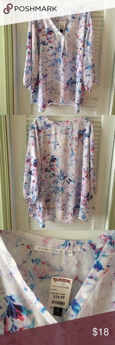 NWT Violet + Claire Floral Blouse Size 3X NWT Violet + Claire Floral Blouse, bought from TJ Maxx, size 3X. This has never been worn and is NWOT. Is very cute and can be dressed up or down. Please let me know if you have questions! Tops Blouses